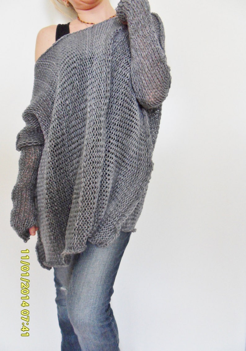 b0fc4f93e6d47 Oversize Women cotton chunky knit sweater Bulky slouchy loose