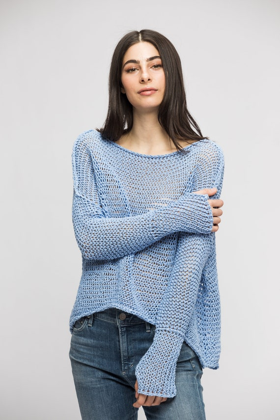 570fac6f5 Cotton Linen loose knit woman sweater. Chunky knit oversized sweater  pullover jumper. Hi Lo hemline .