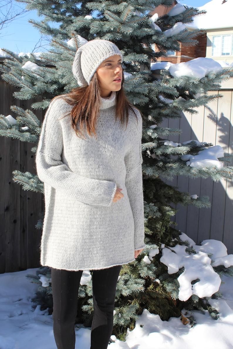 Knit sweater women  Chunky  knit Alpaca  sweater dress  image 1