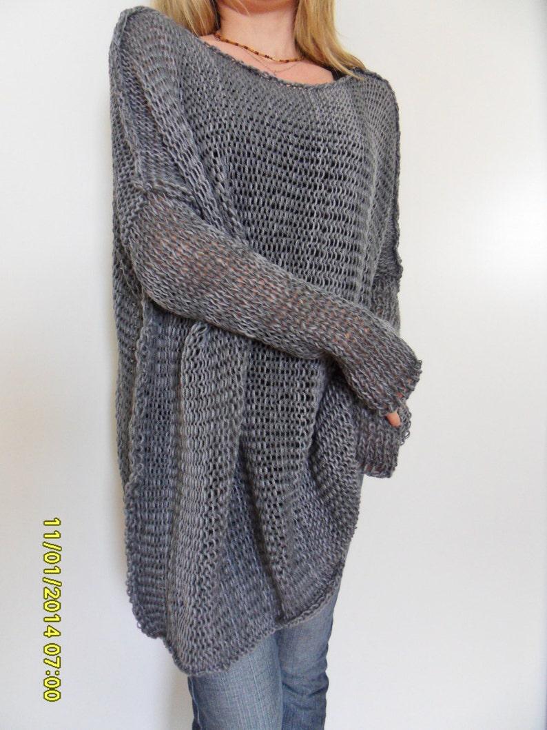 1e8954a001dd Oversize Women cotton chunky knit sweater Bulky slouchy loose