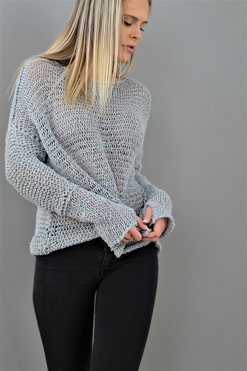 27d3f4208 Cotton Linen Oversized Loose knit sweater . Spring Summer open knit woman  sweater top.Grey knit sweater by Roseuniquestyle .