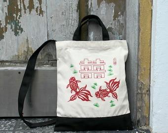 Double Happiness and Gold Fish bag, hand bag,canvas bag, shoulder bag