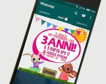 Birthday printable invitation - Minions - for whatsapp Telegram