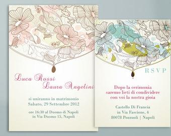 Wedding card and PRINTABLE invitation-floral Romance
