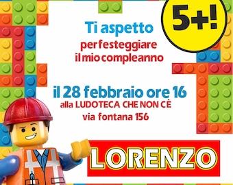 Birthday printable invitation - Lego Theme - for whatsapp Telegram