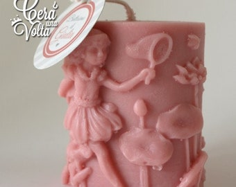 5 candles canister with fairy