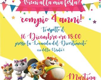 Birthday printable invitation - 44 cats - for whatsapp Telegram