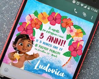 Birthday printable invitation - Little Moana - for whatsapp Telegram