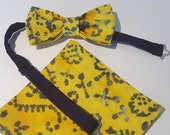 Shades of Yellow and Blue Batik Acid Look Pre-Tied Bow Tie Bowtie - Matching Pocket Square - FREE Shipping - Unique