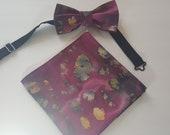 Shades of Burgundy Wine Batik Acid Look Pre-Tied Bow Tie Bowtie - Matching Pocket Square - FREE Shipping - Unique Wedding Splatter