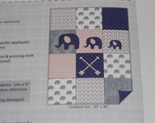 Do-It-Yourself Flannel Baby Quilt with Fabric Squares, Backing Fabric and Appliques Blue White Elephant Arrows Instructions