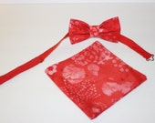 Shades of Red and White Batik Acid Look Pre-Tied Bow Tie Bowtie - Matching Pocket Square - FREE SHIPPING
