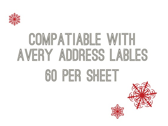 Instant Download Gift Labels 4 Christmas Designs Avery 60 Labels Per Sheet