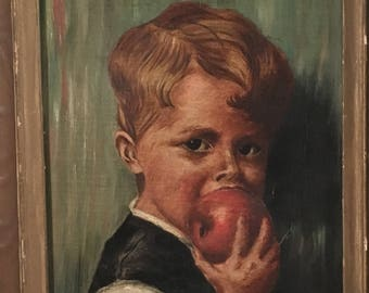 Vintage Portrait of a Boy eating an Apple