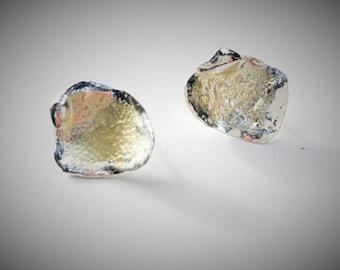 Silver enamel post earrings in opalescent gold, gold enamel earrings, champagne enamel earrings, gold earrings, yellow earrings,