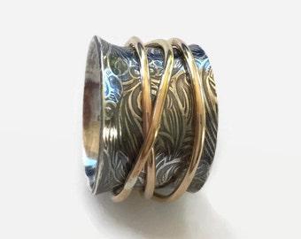 silver spinner ring, gold spinner ring, wide silver ring, gold and silver ring, sterling silver roll ring, gold roll ring, wide ring,