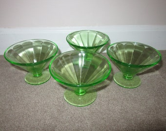 349dfdbe8e01 Federal Green Mercury Sherbet dishes -Set of 4 Sherbet dishes -Depression  Glass -1930 Vaseline glasses -Vintage Uranium sherbet dishes
