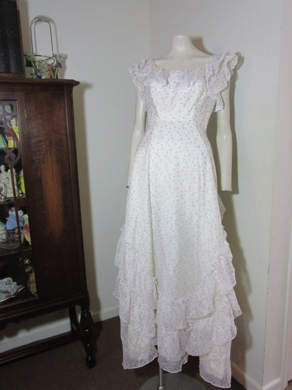 1970's Ruffled Prom Dress -White/pink rose print -