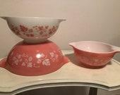 Vintage Pyrex Pink Gooseberry Cinderella Bowls Set of 3
