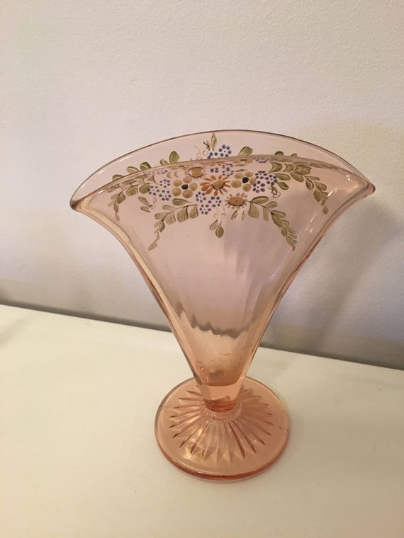 Vintage Vase Pink Depression Glass Hand Painted Fan Vase Etsy