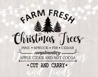 DIGITAL DOWNLOAD svg png farm fresh christmas trees merry christmas truck tree retro vintage winter holiday silhouette cricut cut files