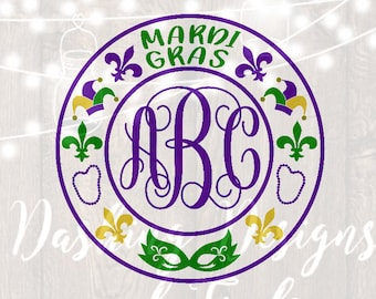 DIGITAL DOWNLOAD mardi gras svg, mardi gras monogram, mardi gras beads svg, silhouette, cricut, cut file, mardi gras shirt, monogram frame