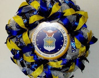 Air Force   wreath USAF wreath vetrans wreath patriotic  everyday wreath Air Force  emblem all season wreath ,welcome home wreath  Air Force