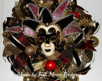 Mardi Gras wreath black gold and red Mardi Gras wreath doorhanger