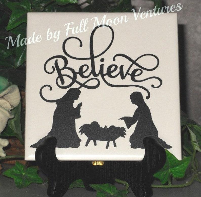 Believe Nativity Christmas Decorative Tile 6 X 6 Inch Tile Etsy