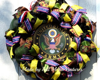 Army wreath vetrans wreath patriotic  everyday wreath  US Army emblem ,all season wreath ,welcome home wreath Military Apreciation wreath