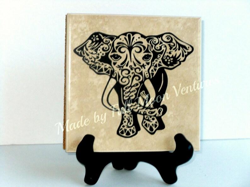 Decorative Tile Tribal Elephant Tile With Wood Etsy