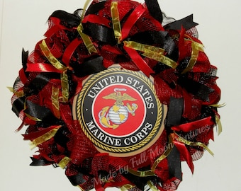Marine corp  wreath USMC wreath vetrans wreath patriotic  everyday wreath  Marine gift Marine emblem ,all season wreath ,welcome home wreath