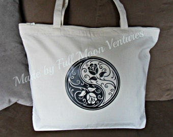 Canvas bag / Tote with zipper top ,Yin Yang  with a Rose , Yin Yang in vinyl  18 x 14 x 4  laptop bag , yoga bag school bag christmas gift