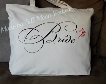 Canvas tote ,Brides  wedding day travel bag , beige canvas bag , brides  gift , with zipper top 18 x 14 x 4 with heart & roses