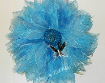 Blue flower with gems and  peacock feather butterfly front door wreath spring wreath mothers day door hanger everyday wreath deco mesh decor