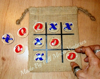 Tic tac toe Travel game kids game classic game glass and burlap bag board game kids gift family fun valentines day gift birthday gift