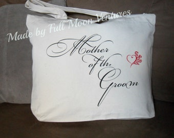 Mother of the Groom canvas wedding day travel bag ,  brides  gift , canvas bag tote , with zipper top 18 x 14 x 4 with heart and roses