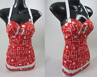 vintage swimsuit 50 s red curvy girl pin up large cotton hawaiian 19692d09996
