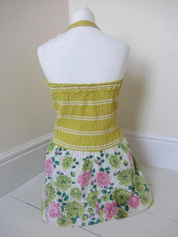vintage 50's swimsuit yellow floral sundress skir… - image 5