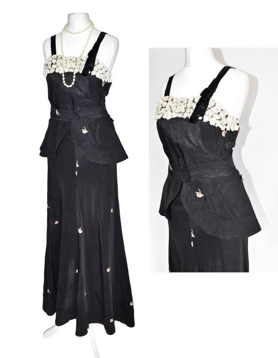 30's 40's black peplum evening dress embroidery ar