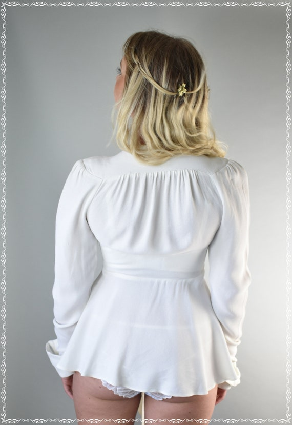 Ossie Clark Moss crepe ivory top 70's small - image 7