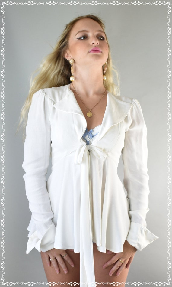 Ossie Clark Moss crepe ivory top 70's small - image 3