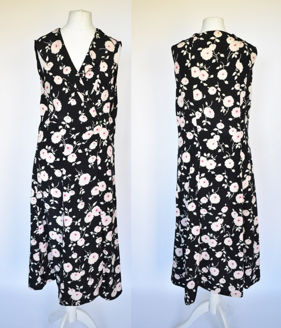 vintage 40's house coat dress silk floral black cr