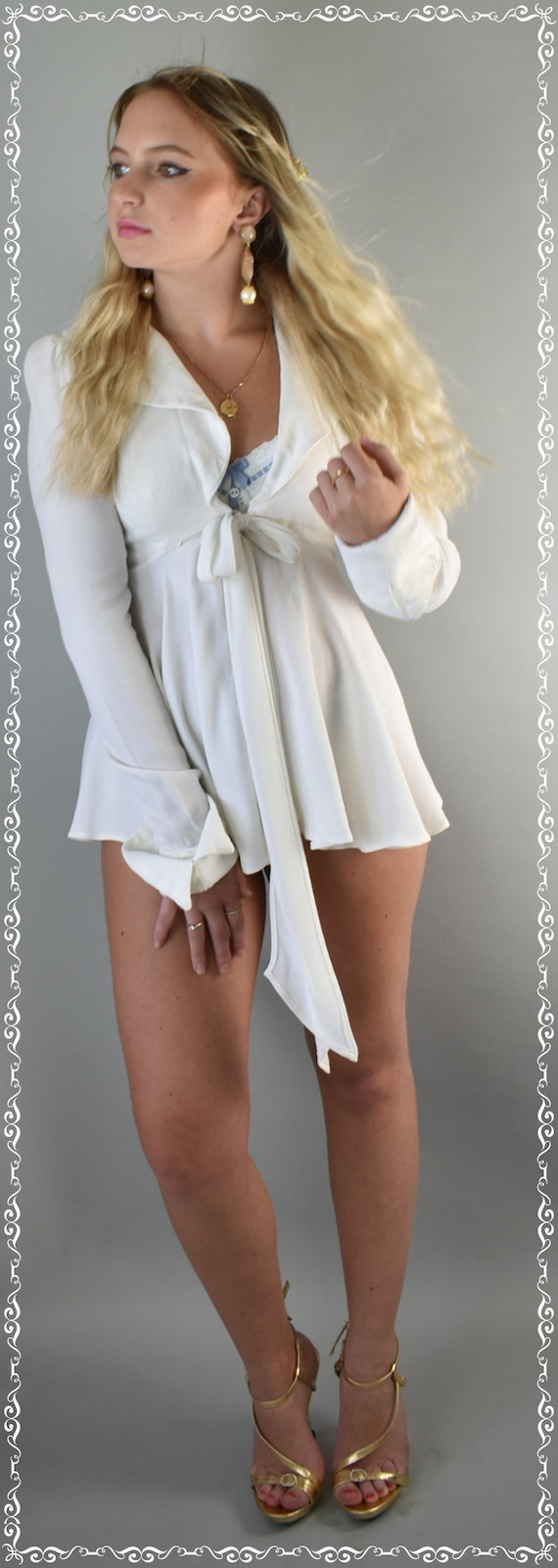 Ossie Clark Moss crepe ivory top 70's small - image 9