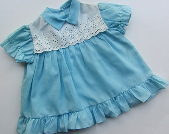 vintage pale blue baby dress 12 months 60's deadstock white bib front
