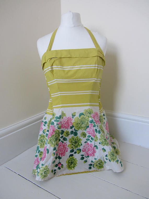 vintage 50's swimsuit yellow floral sundress skir… - image 9