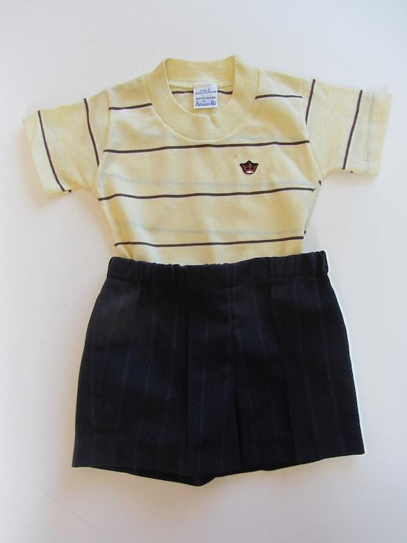 40's 50's retro kids T shirt top & shorts age 2 ye