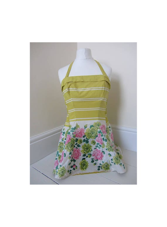 vintage 50's swimsuit yellow floral sundress skir… - image 1
