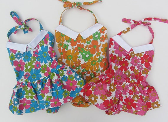 Girls vintage swimsuit sun-suit floral 60 s beach  bae40dea8f0