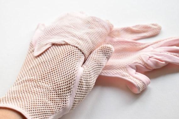 vintage pink net gloves tea dance 50's 60's